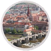 View Onto The Town Of Wuerzburg - Germany Round Beach Towel