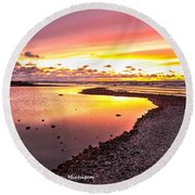View Opposite Of Mackinac Bridge From Mcgulpin Point At Sunset. Round Beach Towel