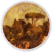 View Over The Forum In Rome Round Beach Towel