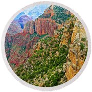 View Six From Walhalla Overlook On North Rim Of Grand Canyon-arizona Round Beach Towel