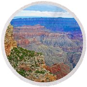 View Three From Walhalla Overlook On North Rim Of Grand Canyon-arizona  Round Beach Towel