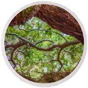 View Through Angel Oak Tree Round Beach Towel