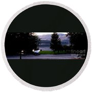 View To Columbia Round Beach Towel