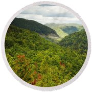 View To The Valley Round Beach Towel