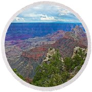 View Two From Walhalla Overlook On North Rim Of Grand Canyon-arizona Round Beach Towel