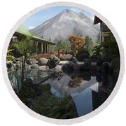 Viewing Arenal Volcano Round Beach Towel