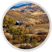 Viewing The Old Barn Round Beach Towel by Robert Bales