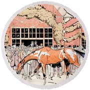 Viewing The Racehorse In The Paddock Round Beach Towel