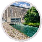 Views Of Man Made Dam At Lake Fontana Great Smoky Mountains Nc Round Beach Towel