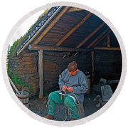 Viking Fisherman At L'anse Aux Meadows-nl  Round Beach Towel