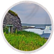 Viking House On Fishing  Point In Saint Anthony-nl Round Beach Towel