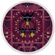 Vikings  And Leather Pop Art Round Beach Towel