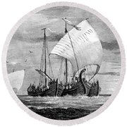 Vikings Cross The North Sea Round Beach Towel