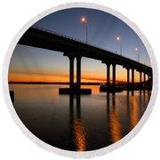 Vilano Bridge At Dusk St Augustine Florida Round Beach Towel