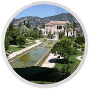 Villa Ephrussi De Rothschild And Garden Round Beach Towel