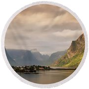 Village And Fjord Among Mountains Round Beach Towel