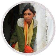 Village Girl India Round Beach Towel