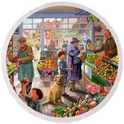 Village Greengrocer  Round Beach Towel