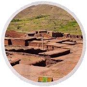 Village In Atlas Mountains In Morocco Round Beach Towel