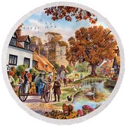 Village In Autumn Round Beach Towel