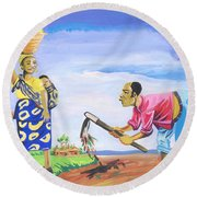 Village Life In Cameroon 01 Round Beach Towel