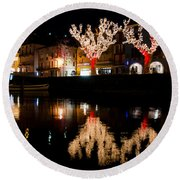 Village Reflected In The Water Round Beach Towel
