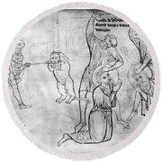 Villard De Honnecourt (c1225-1250) Round Beach Towel