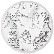Villard De Honnecourt (c1225-c1250) Round Beach Towel