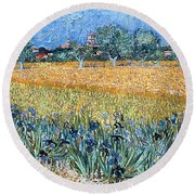 Field With Flowers Near Arles Round Beach Towel