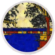 Vincent's Japanese Garden Round Beach Towel