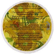 Vincent's Sunflower Song Round Beach Towel