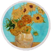 Vincent's Sunflowers Round Beach Towel