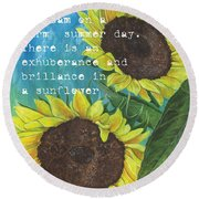 Vince's Sunflowers 1 Round Beach Towel by Debbie DeWitt