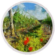 Vineyard And Poppies Round Beach Towel