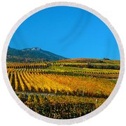 Vineyards In Autumn, Valais Canton Round Beach Towel
