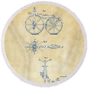 Vintage 1866 Velocipede Bicycle Patent Artwork Round Beach Towel
