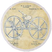 Vintage 1869 Velocipede Bicycle Patent Artwork Round Beach Towel