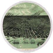 Vintage 1889 Detroit Michigan Map Round Beach Towel