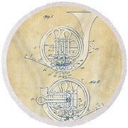 Vintage 1914 French Horn Patent Artwork Round Beach Towel
