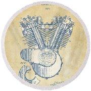 Vintage 1923 Harley Engine Patent Artwork Round Beach Towel