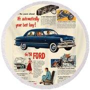 Vintage 1951 Ford Car Advert Round Beach Towel