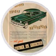 Vintage 1954 Ford Classic Car Advert Round Beach Towel