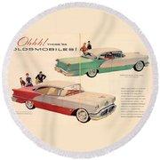Vintage 1956 Oldsmobile Car Advert Round Beach Towel