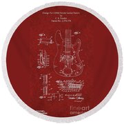 Vintage 1961 Fender Guitar Patent Round Beach Towel