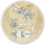 Vintage 1972 Chris Craft Boat Patent Artwork Round Beach Towel