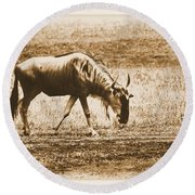 Vintage African Safari Wildbeest Round Beach Towel
