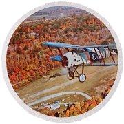 Vintage Airplane Postcard Art Prints Round Beach Towel
