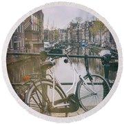 Vintage Amsterdam Round Beach Towel