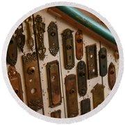 Vintage And Antique Door Knob And Lock Plates Round Beach Towel