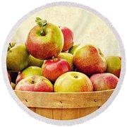 Vintage Apple Basket Round Beach Towel